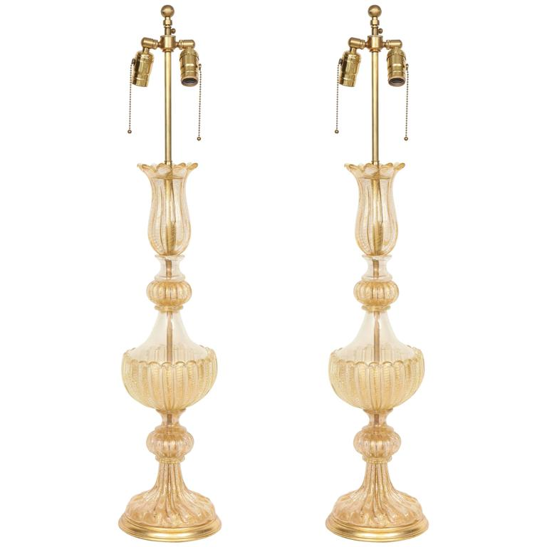 Pair of 22-Karat Gold Dust Inclusion Murano Glass Lamps by Barovier