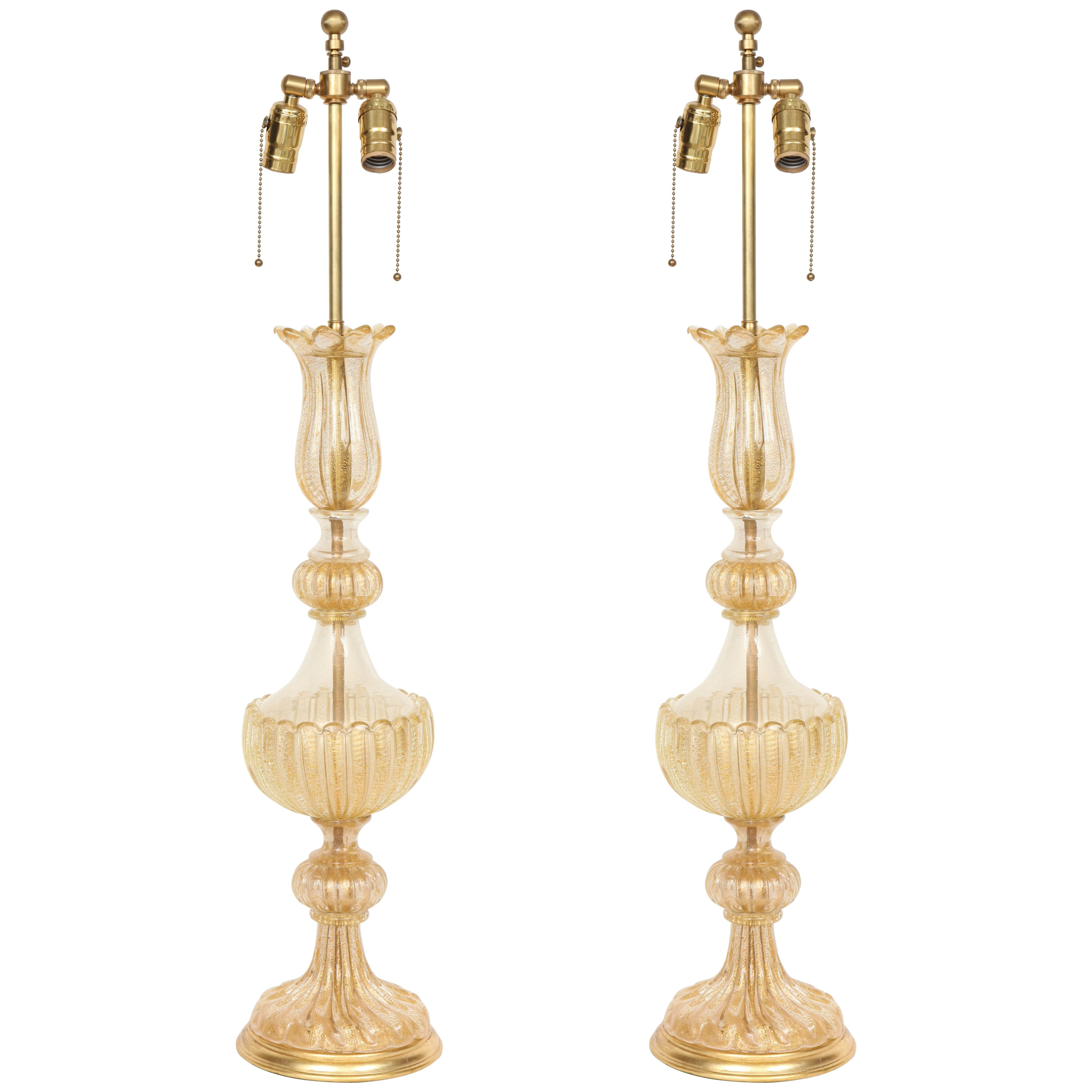 Barovier 22kt Gold Fleck Inclusion Murano Glass Lamps