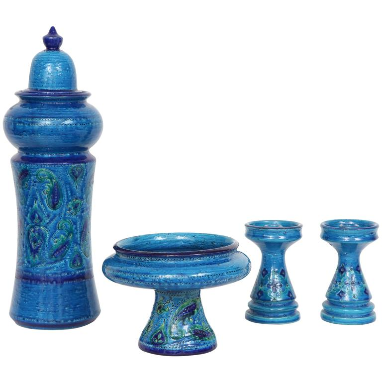 Four-Piece Rimini Blue Ceramic Set by Bitossi