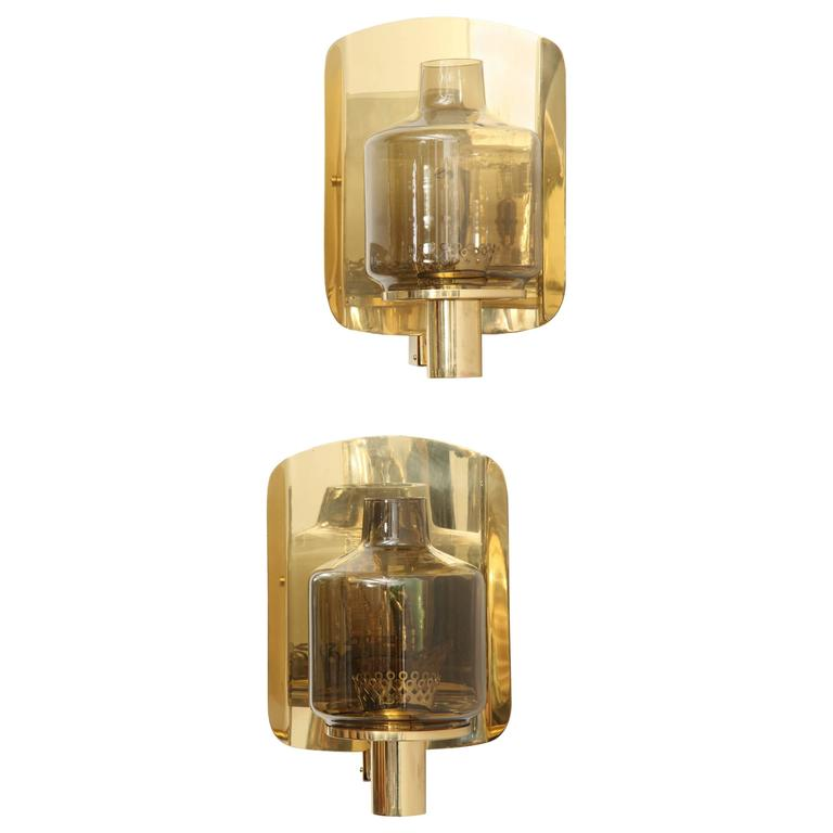 Pair of Brass and Smoked Glass Sconces by Hans-Agne Jakobsson For Sale