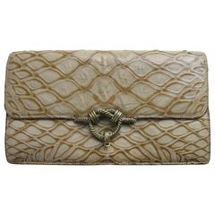 Rare Hermes Crocodile Belly Clutch, circa 1980s