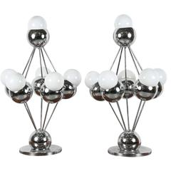 Pair of Mid-Century Chrome Space Age Orb Large Table Lamps