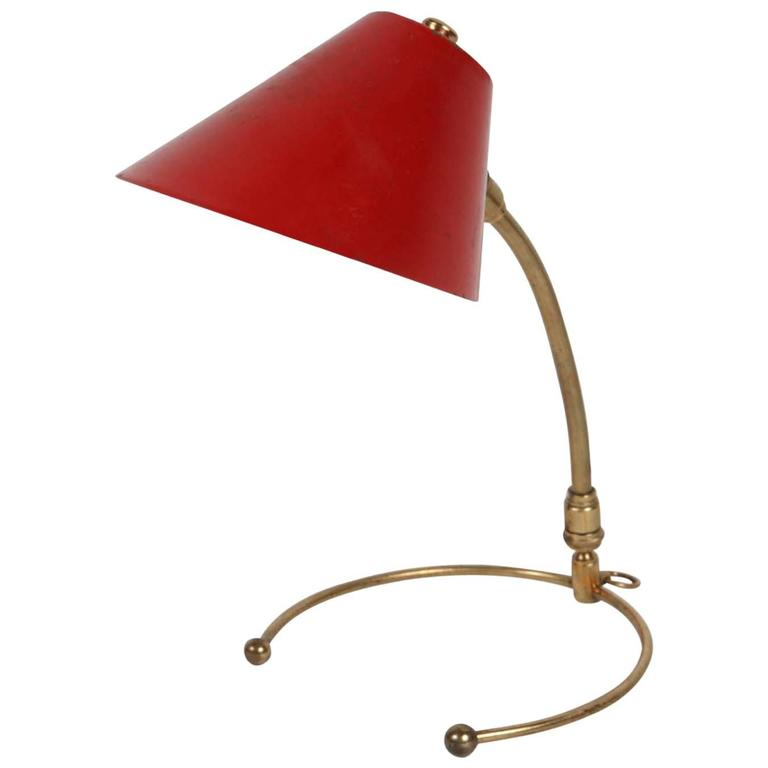 French Cocotte 1950s Brass and Painted Metal Table Lamp, Also Hangs as a Sconce