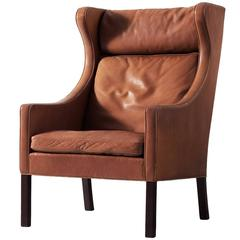 Børge Mogensen Brown Leather Wingback Chair
