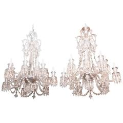 Pair of Baccarat Glass Twelve-Arm Chandeliers, Signed Baccarat