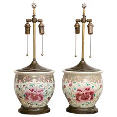 Pair of Early 20th Century Chinese Export Peony Design Table Lamps