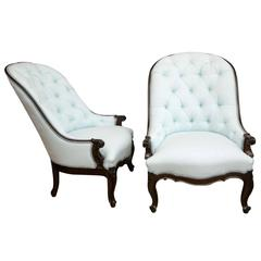Pair of Napoleon III Period Rosewood and Tufted Upholstery Bergeres