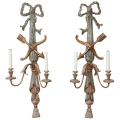 Pair of Italian Polychromed Wood Classical Form Wall Sconces