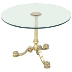 Mid-Century Classical-Form Side Table of Brass, with Round Glass Top