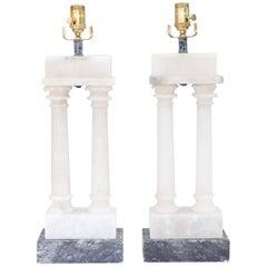 Pair of Alabaster Dual Column Lamps