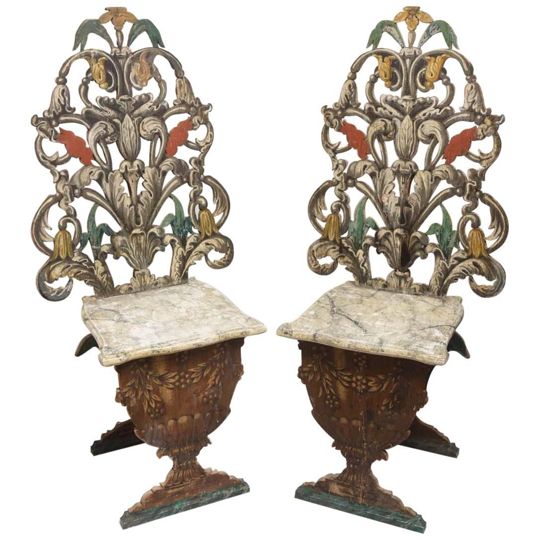 Exceptional Pair of Antique Venetian Side Chairs