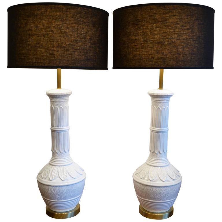 """Pair of Hollywood Regency White """"Palm Springs"""" Table Lamps, 1960's"""