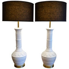 "Pair of Hollywood Regency Style White ""Palm Springs"" Table Lamps, 1960's"