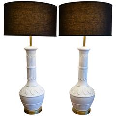 "Pair of Hollywood Regency White ""Palm Springs"" Table Lamps, 1960's"