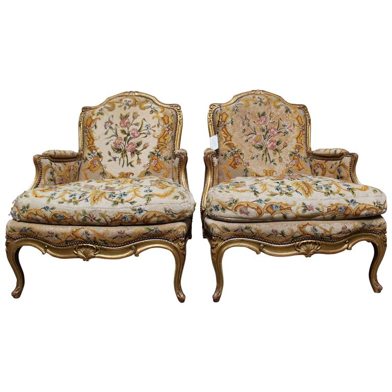 Pair of French Louis XV Style Giltwood Bergeres