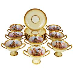 Set of Eight Dresden Ambrosius Lamm Hand-Painted Soup Bouillon Cups, circa 1915