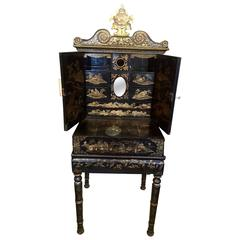 Chinese Export Gilt Decorated Black Lacquer Cabinet-on-Stand