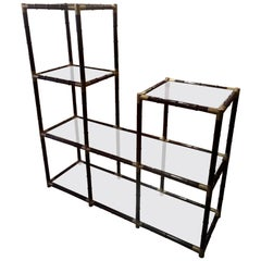 Billy Haines Style Faux Bamboo Asymmetrical Etagere