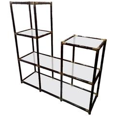 Handsome Faux Bamboo and Brass Etagere