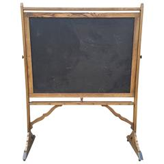 1930s Maple Frame Double Sided Schoolhouse Standing Chalkboard