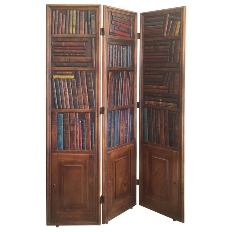 Handsome Mahogany and Leather Book Three-Panel Library ...