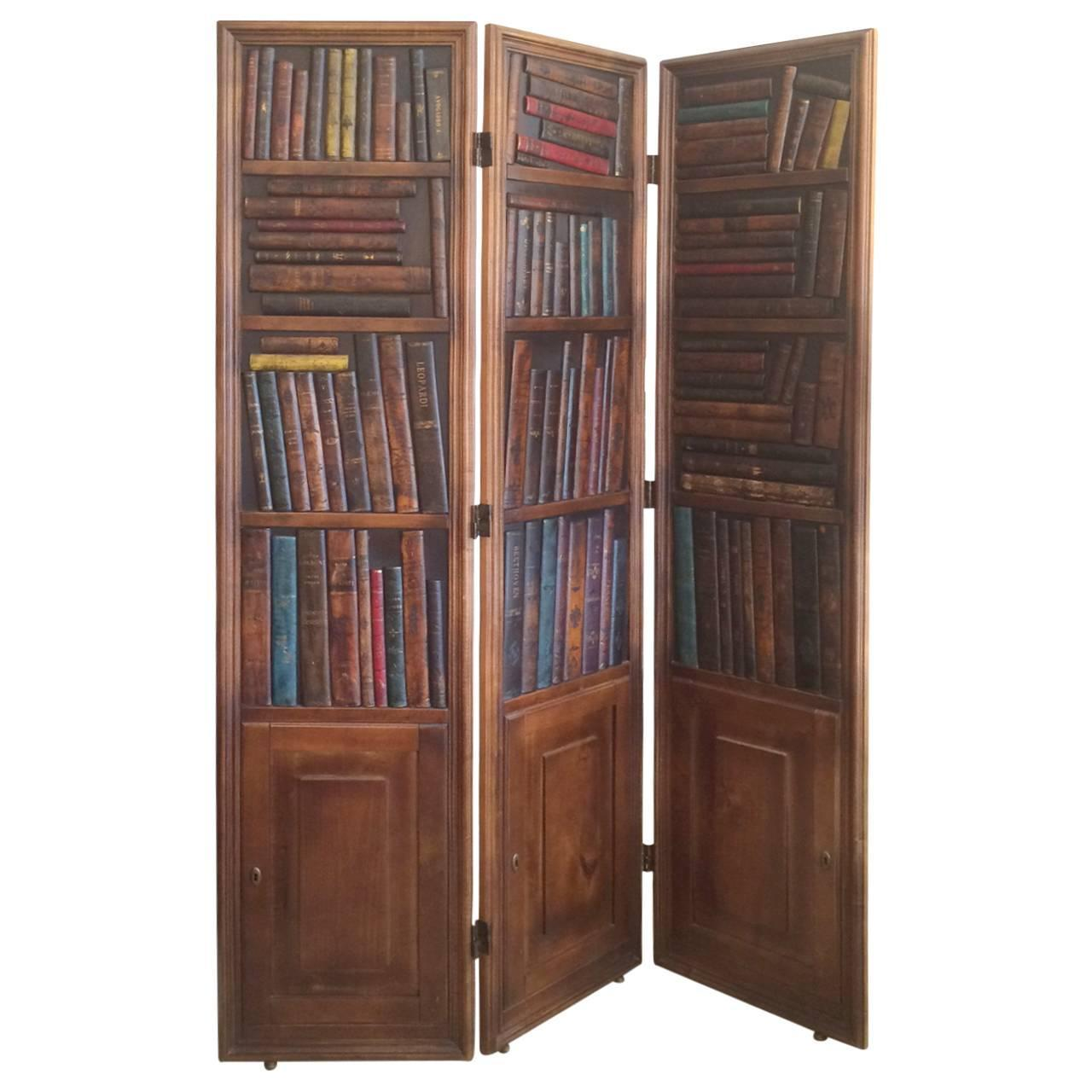 Handsome Mahogany And Leather Book Three Panel Library