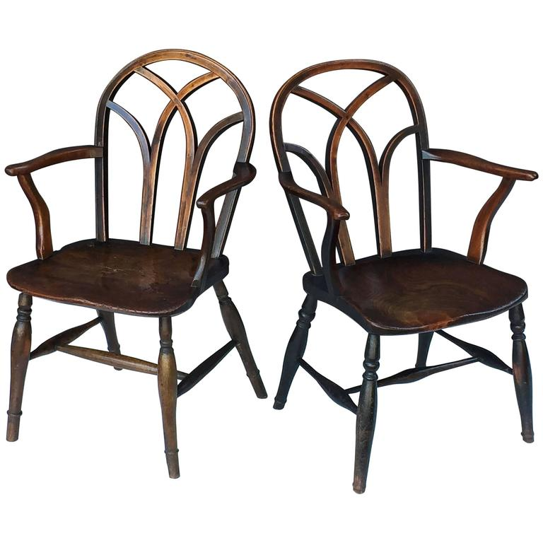 Pair of English Ash Lowback Windsor Chairs For Sale