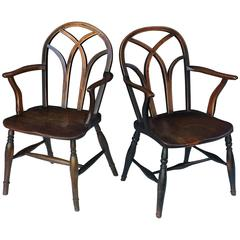 Pair of English Ash Lowback Windsor Chairs
