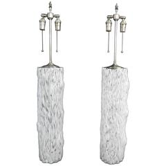 Large, Hand-Blown Clear and Milk Glass Vases with Lamp Application