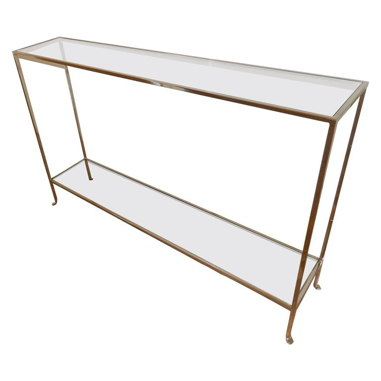 Nickel and Glass Two Level Modern Console Table For Sale