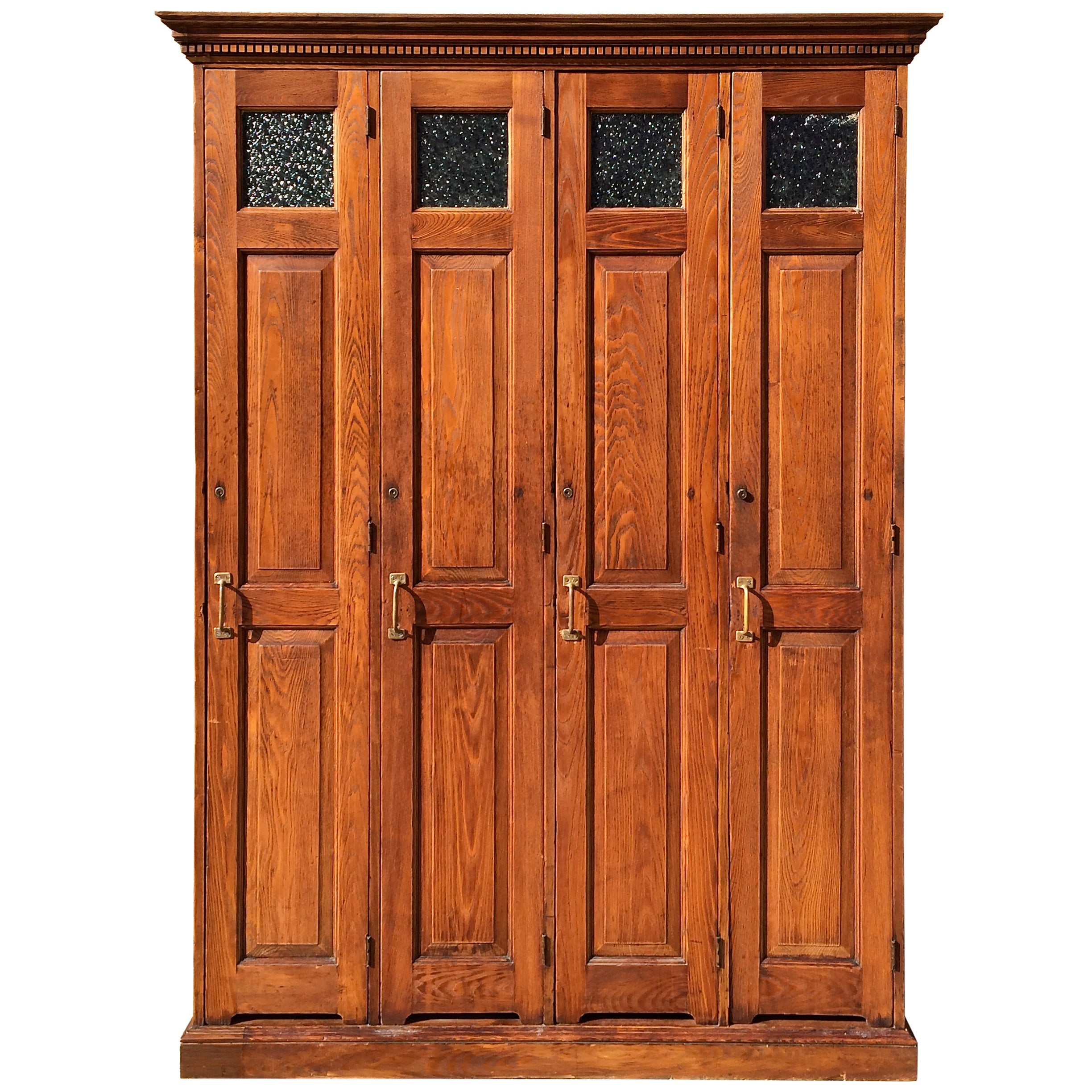 Row of Four Late 19th Century Oak Police Lockers For Sale at 1stdibs