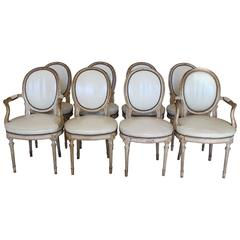 Beautiful Set of Eight Late Louis XVI Style Cream Painted Chairs