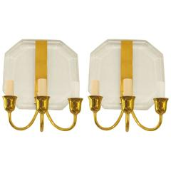 Pair of French 1970s Lucite and Brass Octagonal Three Arms Sconces