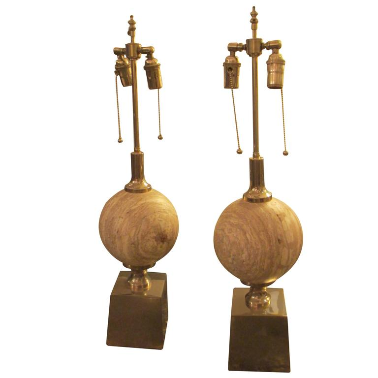 Sculptural Pair of Travertine Lamps on Chrome-Plated Plinth Bases 1