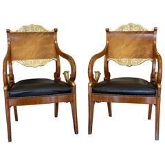Pair of 18th Century Russian Neoclassical Period Mahogany Parcel-Gilt Armchairs