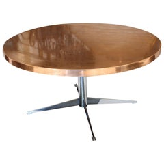 French 1900s Copper Coffee Table with Astrological Motifs and Chrome Pedestal