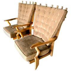 """Dynamic Pair of Oak """"Grand Repos"""" Chairs by Guillerme et Chambron C. 1960"""