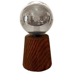 Wonderful Mercury Glass Gazing Ball on a Turned Wood Stand