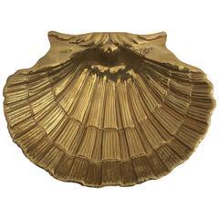 Hollywood Regency Brass Shell Trey / Dish