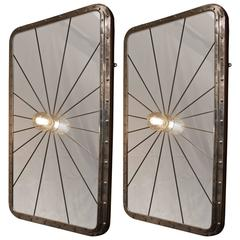 Pair of Polished Aluminum Ship's Porthole Mirror with Light