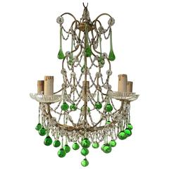 French Green Drops Macaroni Swags Chandelier