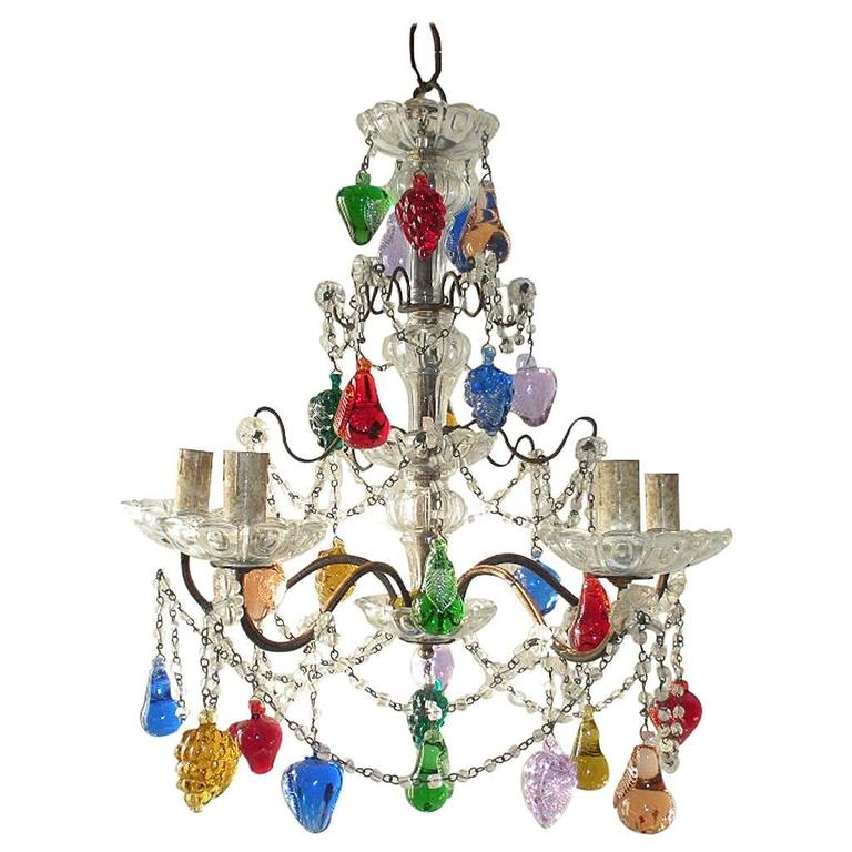 Murano Chandelier Color: Murano Multi-Colored Fruit Chandelier At 1stdibs