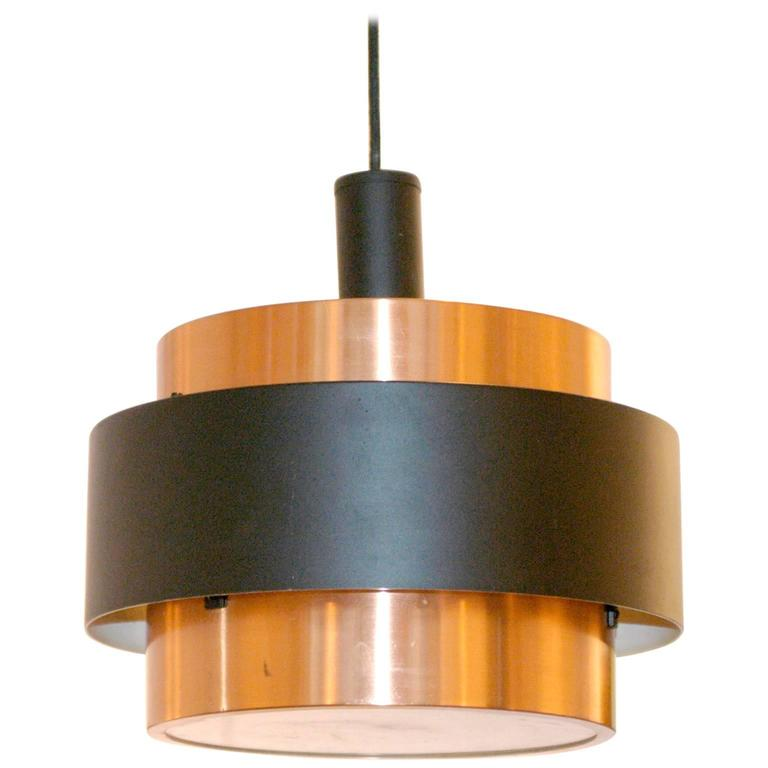 Danish Modern Copper and Metal Pendant Lamp in the Style of Jo Hammerborg