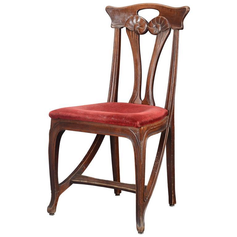 Rare Original Beech Stained Chair By Eugene Gaillard