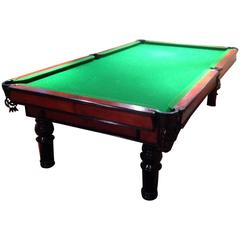 Unique Ebonized Oak and Leather Covered and Blind Tooled Billiard Table