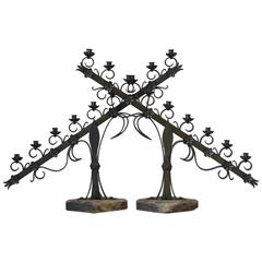Large Pair of Ecclesiastical Iron Candleholders, France, Early 20th Century