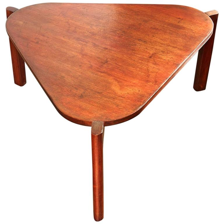 Table Top 1955: Pierre Jeanneret, Triangular Coffee Table, Circa 1955 At