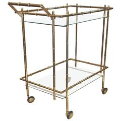 Faux Bamboo Brass Bar Cart