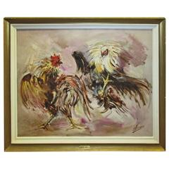 Cock Fight, Spanish Painter, Robert Barnete, O/C, 1960s, Strong Action Painting