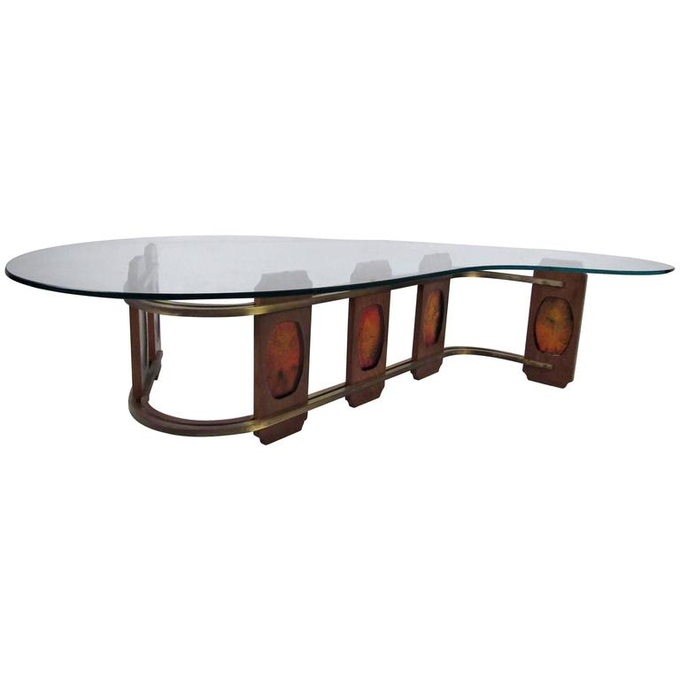 Sculptural Vintage Kidney Shaped Coffee Table For Sale